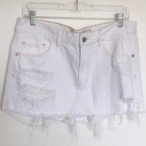 Abercrombie & Fitch White Distressed Denim Skirt